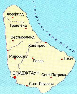 Карта острова Барбадос
