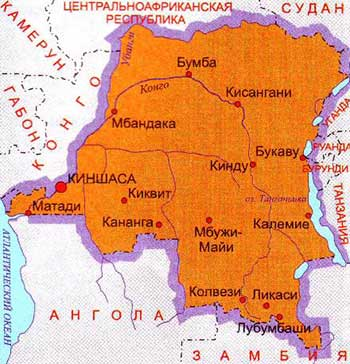 Карта Демократической республики Конго
