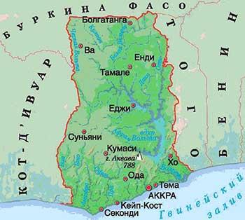 Карта Ганы