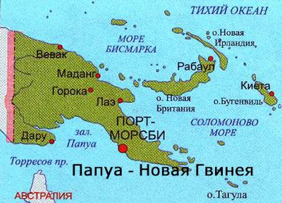 карта Папуа - Новая Гвинея