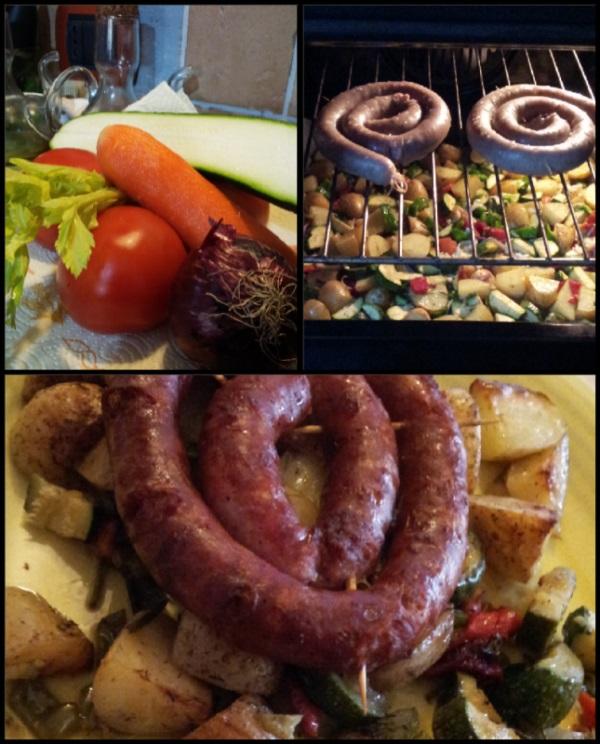 Домашняя Луганега с овощами в духовом шкафу